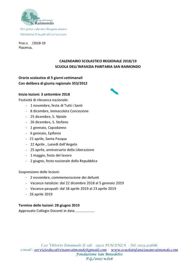 CalendarioScolastico 2018-19 Scuola dell'infanzia San Raimondo